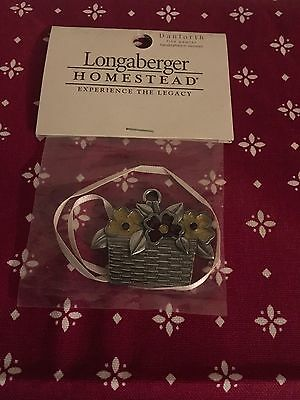 Longaberger Homestead Exclusive Danforth Pewter Baskets Of Flowers Tie-On
