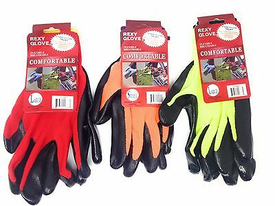 12 Pairs Rexy Nitrile Coated Work Gloves (Size Large) Green, Orange  & Red