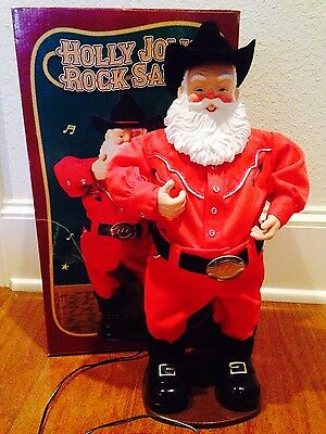 Animated Cowboy Holly Jolly Rock Santa Alan Jackson Sings Musical Christmas