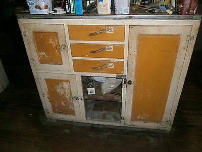 Small Antique Kitchen Cabinet with Meat Safe.