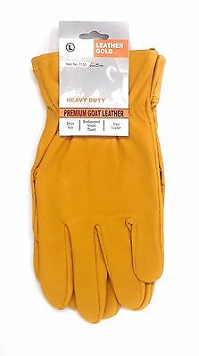 """12 Pairs Leather Gold Yellow Goat Grain Leather Palm Gloves Thumb Reinforced """"L"""""""