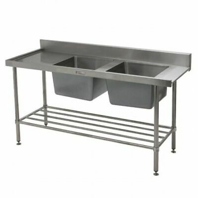 Simply Stainless Double Sink with Left Dishwasher Inlet 1650x700x900mm