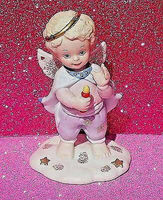 Vintage Guiding Light Bronson Collection July Angel Figurine Holding Firecracker