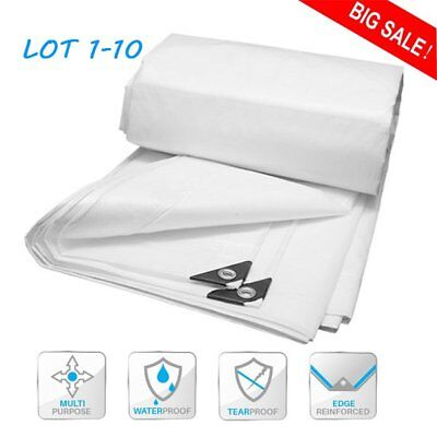 White Heavy Duty Tarp Reinforced Tarpaulin Canopy Tent Shelter Cover Car Boat B2