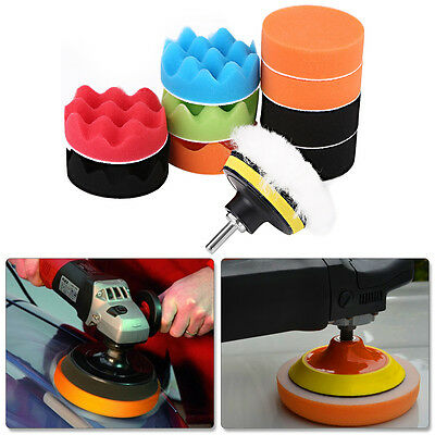 12X Sponge Buffing Polishing Pad Kit for Car Polisher with Drill Adapter New SG