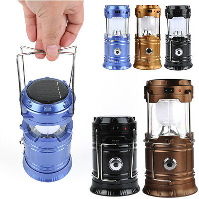 Rechargeable Solar LED Lantern Outdoor Night Camping Light Lamp USB Power Bank