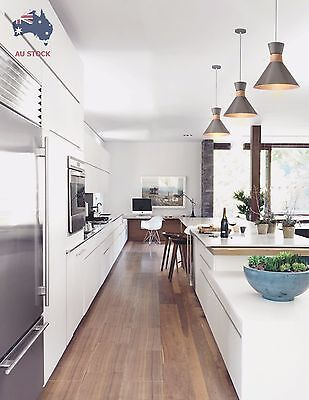 Pendant Light Modern Ceiling Lamp Grey Metal with Wood Accent Vintage E27 Edison