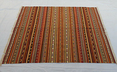 Large Old Traditional Indian Hand Made Dari Coulorful Wool Kilim 235x168cm (041)