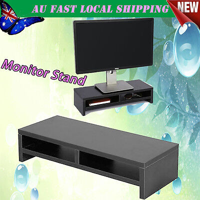Wooden Monitor Stand LCD TV Computer Monitor Riser Desktop Display Bracket Black