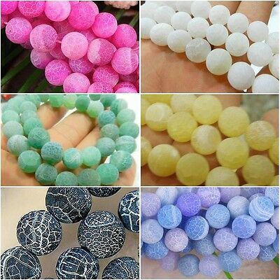 """6 COLOURS Dream Fire Dragon Veins Agate Gems Loose Beads Strands 15"""" (6-10MM)"""