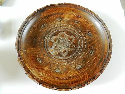 Antique Carved Wooden Plate Church Ornate Treen Collectable