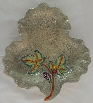 Shorter & Sons Hand Painted Strawberry Leaf Dish