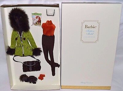 Nib-New-2004-Barbie Skiing Vacation: Fashion Model Couture Collection-Gold Label