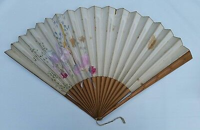 Large Vtg 1920s Art Deco Large Handpainted Fabric Folding Hand Wall Fan Bamboo