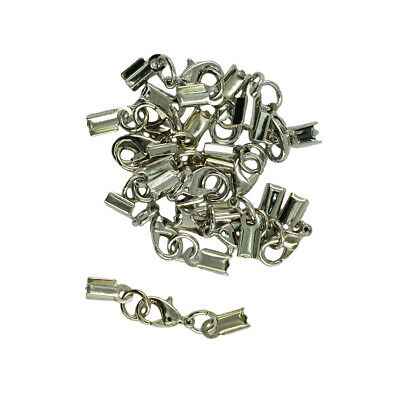 12 Sets Crimp Cord Ends Ribbon Crimp Ends Lobster Clasp Jewelry Making Craft