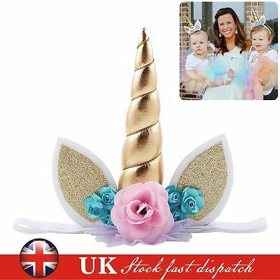 Baby Girl Flower Unicorn Horn Head Hair Headband Party Fancy Dress Birthday Gift