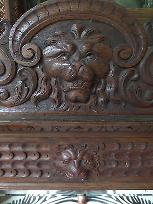 19th Century Carved Oak Green Man Lion Head Overmantel Mirror
