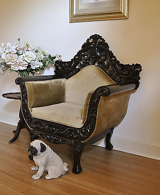Vintage Ornately Carved Colonial Dutch East India Style Chair / Armchair