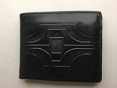 Vintage Enger-Kress Fine Leather Wallet Men's Black nice Art Deco look
