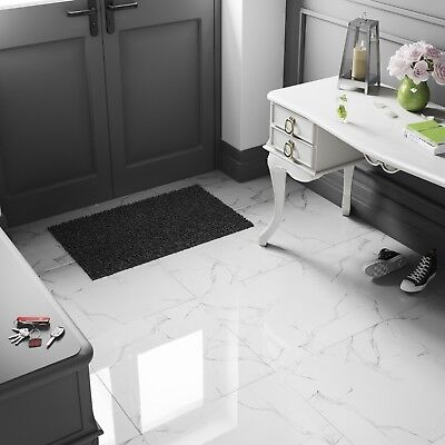 £19.19/m2 White Marble Effect High Gloss Porcelain Tiles 60x60 Wall-Floor SAMPLE