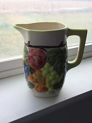 Vintage Hand Painted Cash Family Flowered Pottery Large Pitcher Erwin TN 1945