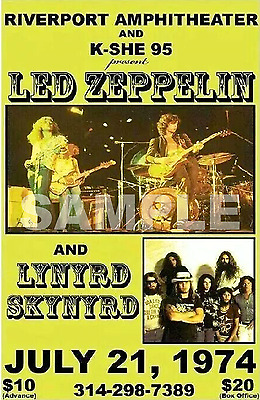 Led Zeppelin Concert Poster Riverport Amphitheater 1974 A3 Size Repro.. NEW