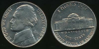 United States, 1980-P 5 Cents, Jefferson Nickel - Uncirculated