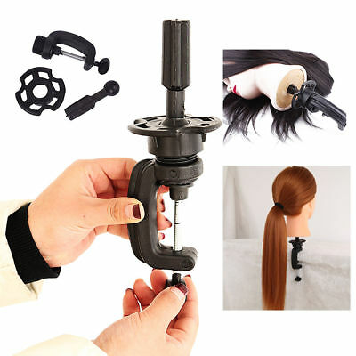 Cosmetology Manikin Stand Mannequin Head Holder Clamp Black 2PCS