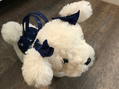 GYMBOREE flight of fancy white and blue fluffy dog purse 2 3 4 5 6 7 8 stars ec