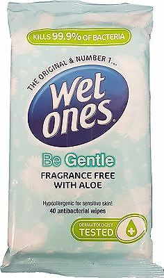 Wet Ones Be Gentle Antibacterial Dermatological Baby / Adult Wipes - 40 Pack