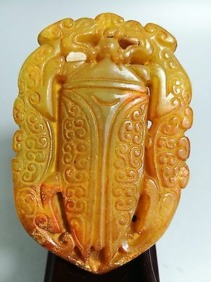 Old Chinese natural jade hand-carved statue of double dragon pendant