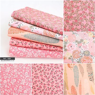 Moda Feather Flowers Pink Cotton Fabric Collection Quilting Craft FQ Bundle FQ83
