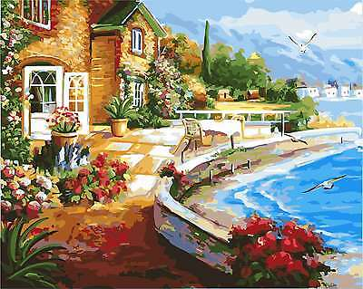 Framed Painting by Number kit The Seaside Holiday Resort Seastrand DIY DY7181