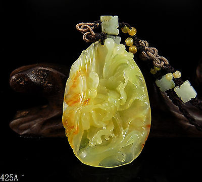100% Natural Hand-carved Jade Pendant jadeite Necklace butterfly&flower 425a