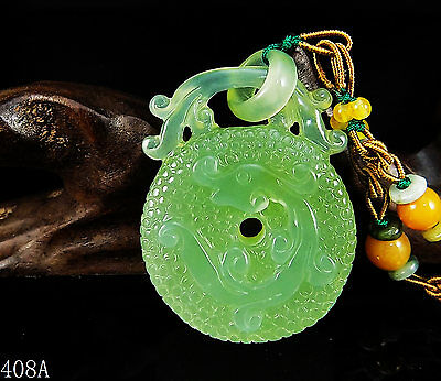 100% Natural 3D Hand-carved Chinese Icy Jade Pendant jadeite Necklace coin 408a