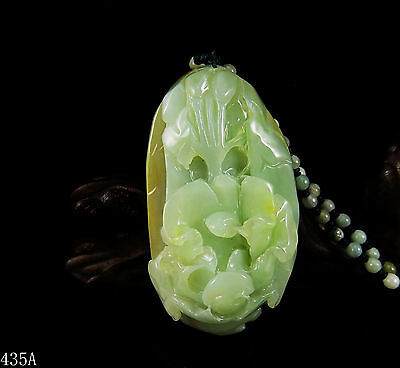 100% Natural Hand-carved Chinese Jade Pendant jadeite Necklace peony flower 435a