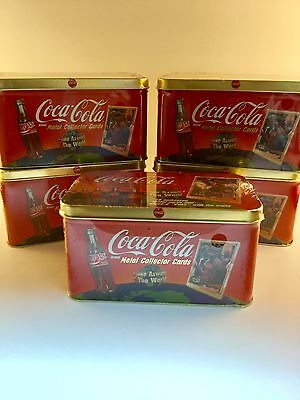 Lot Of 5 Coca Cola Tins With Metal Collector Cards Factory Sealed
