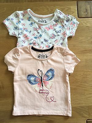 Baby Girl Butterfly X2 Tops 6-9 Months Primark