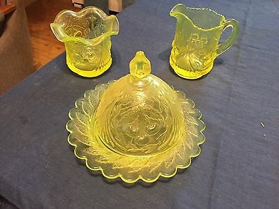 Vintage VASELINE Glass Covered Butter Dish, Creamer & Sugar  A-1 Condition
