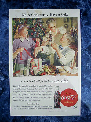 """Vintage Coca Cola 1946 Christmas Ad Store Sign """"Family Tree"""""""