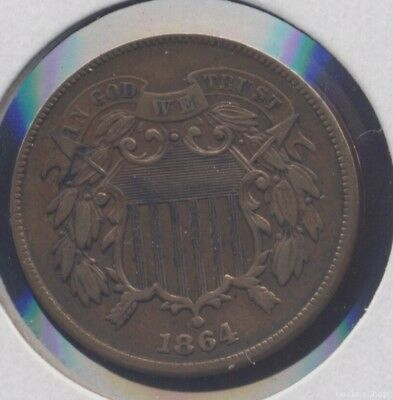 1864 copper US 2-cent piece. XF cleaned.  two cents