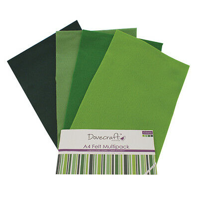 Dovecraft Essentials A4 Felt 8 Sheet Multipack - Greens