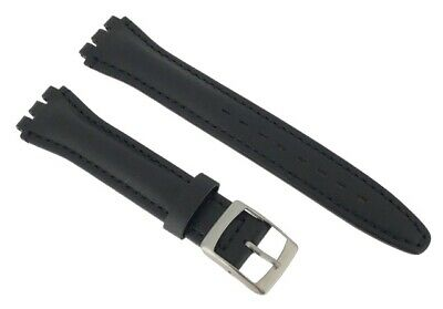 Black Leather 17mm Replacement Padded Watch Strap For Swatch