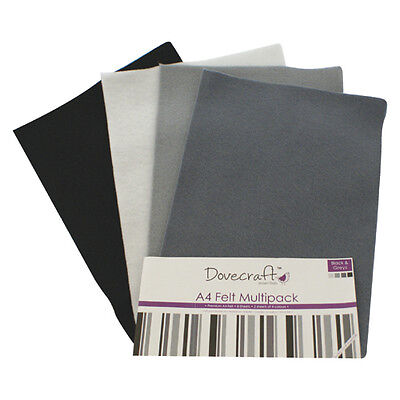 Dovecraft Essentials A4 Felt 8 Sheet Multipack - Blacks & Greys