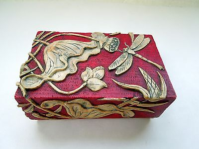 Art Nouveau Soapstone Trinket Box Deep Incised Drawer Legs Dragonfly Flowers Red