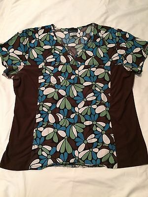 Cherokee Women's Brown Floral Scrub Top Flexside Size XL