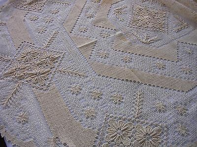 ANTIQUE  Vintage OVAL  Needle Lace Tablecloth 50 X 70