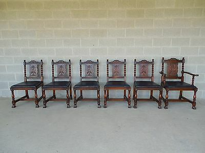Set of 6 Vintage Jacobean Walnut Dining Chairs