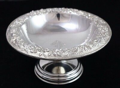 Vintage Kirk & Son Repousse Floral Sterling Silver Compote