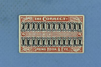 Antique THE CORRECT SPRING HOOK & EYE SEWING NOTION ORIGINAL DISPLAY CARD #03908